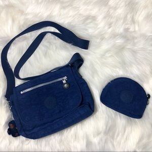 Kipling True Blue Crossbody Bag with coin pouch